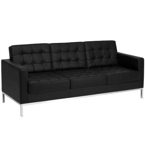 "80"" Black and Stainless Contemporary Button Tufted Sofa - IMAGE 1"