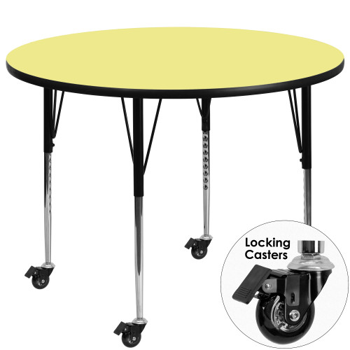 48'' Yellow and Black Contemporary Round Activity Table with Height Adjustable Mobile Legs - IMAGE 1