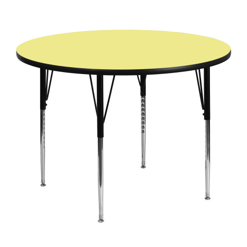 """48"""" Yellow and Black Contemporary Round Thermal Activity Table - IMAGE 1"""