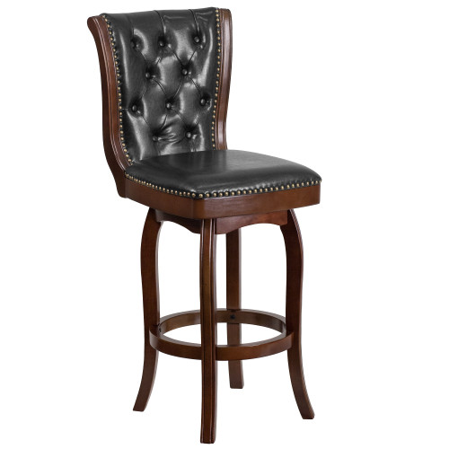 47'' Black and Brown Button Tufted Back Bar Stool with Swivel Seat - IMAGE 1