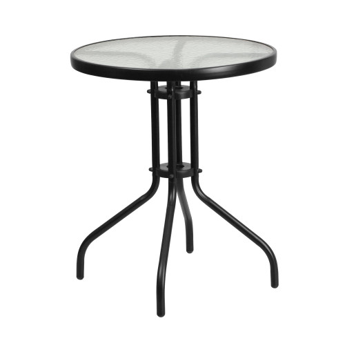 """28"""" Black and Clear Round Tempered Glass Outdoor Furniture Patio Table - IMAGE 1"""