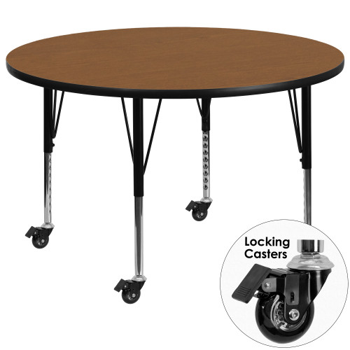 48'' Oak Brown and Black Contemporary Round Activity Table with Height Adjustable Mobile Short Legs - IMAGE 1