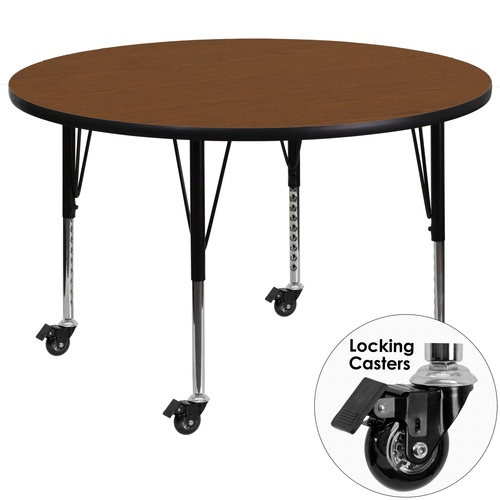 48'' Oak Brown and Gray Contemporary Round Activity Table with Height Adjustable Short Mobile Legs - IMAGE 1