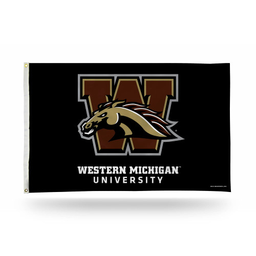 3' x 5' Black and Brown College Western Michigan Rectangular Banner Flag - IMAGE 1
