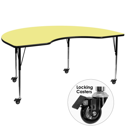 """96"""" Yellow and Gray Contemporary Kidney Activity Table with Standard Height Adjustable Mobile Legs - IMAGE 1"""