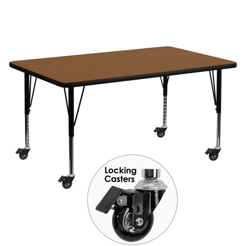 """60"""" Tawny Brown and Black Rectangular Table with Height Adjustable Roller Legs - IMAGE 1"""