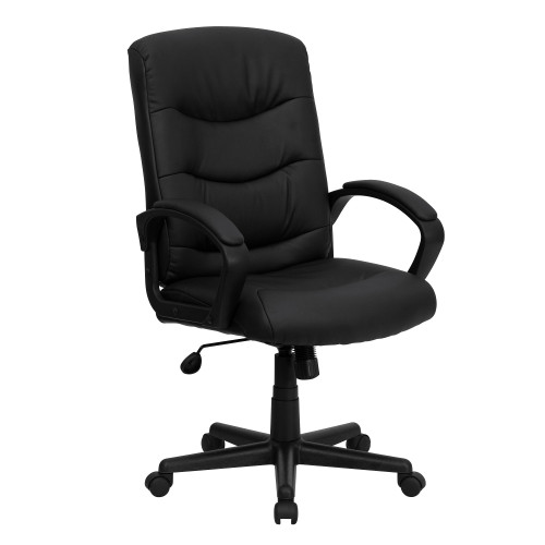 "44.75"" Black Contemporary Mid-Back Executive Armed Swivel Office Chair - IMAGE 1"