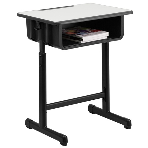 "31.5"" Gray and Black Contemporary Adjustable Height Pedestal Student Desk - IMAGE 1"