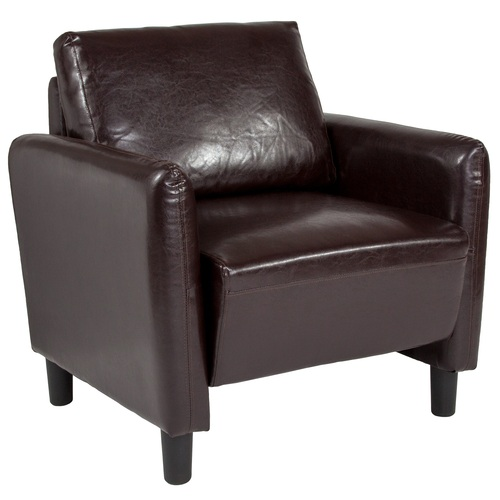 """35"""" Brown and Black Contemporary Mid Back Upholstered Chair - IMAGE 1"""