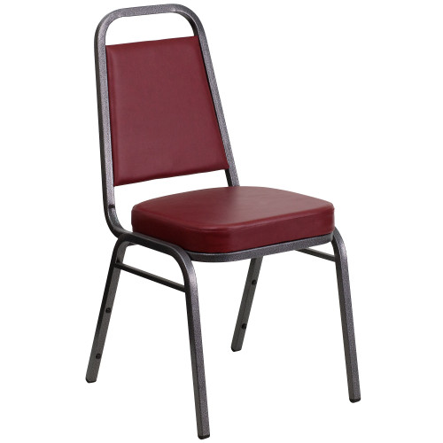 """36"""" Burgundy Red and Silver Trapezoidal Back Banquet Chair - IMAGE 1"""