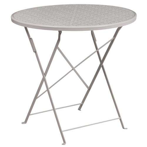 30'' Pale Gray Round Contemporary Outdoor Patio Folding Table - IMAGE 1