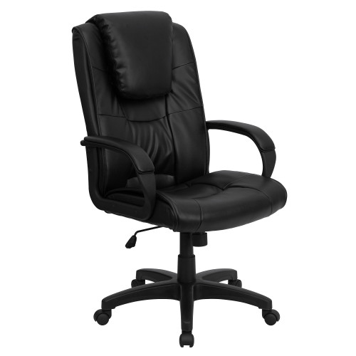 "48"" High Back Black Leather Executive Swivel Office Chair with Oversized Headrest and Arms - IMAGE 1"