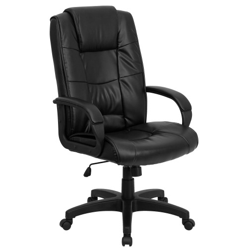 "48"" Black Contemporary High Back Armed Executive Swivel Office Chair - IMAGE 1"