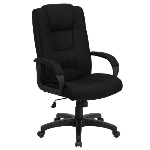 "48"" Black Contemporary High Back Armed Executive Swivel Office Chair with Headrest - IMAGE 1"