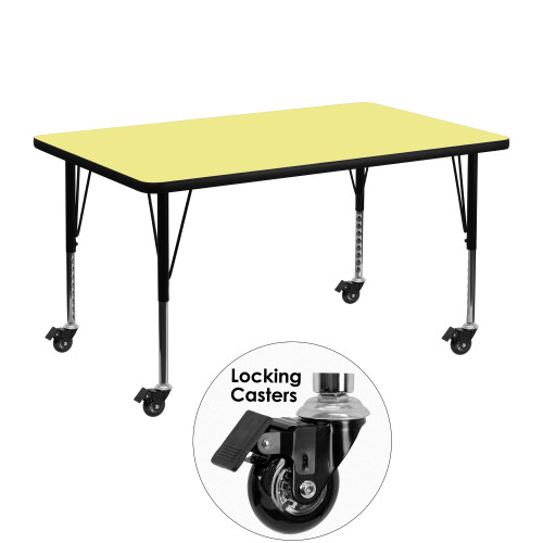 """48"""" Blonde Yellow and Black Rectangular Table with Height Adjustable Roller Legs - IMAGE 1"""