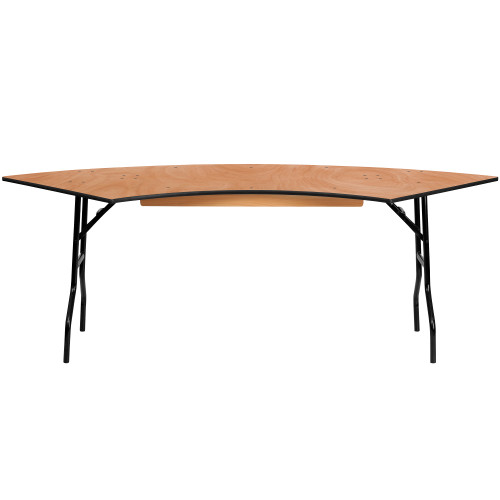 """60"""" Brown Serpentine Wood Folding Banquet Table - IMAGE 1"""