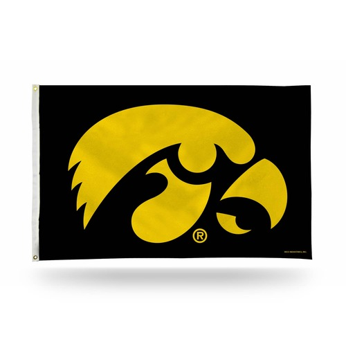 3' x 5' Black and Yellow College Iowa Hawkeyes Rectangular Banner Flag - IMAGE 1