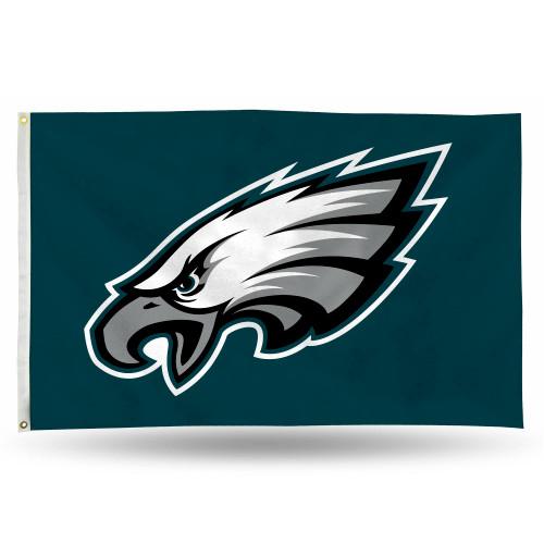 3' x 5' Green and Gray NFL Philadelphia Eagles Rectangular Banner Flag - IMAGE 1