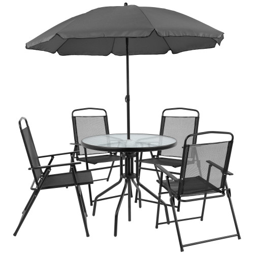 """6-Piece Black and Clear Contemporary Round Outdoor Furniture Patio Table Set 80"""" - IMAGE 1"""