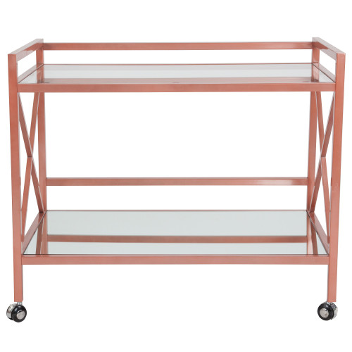 """38.75"""" Pink Contemporary Rectangle Kitchen Serving and Bar Cart - IMAGE 1"""
