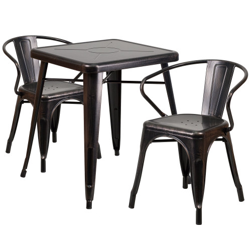 """Set of 3 Black and Antique Gold Square Metal Indoor-Outdoor Table with Arm Chairs 29"""" - IMAGE 1"""