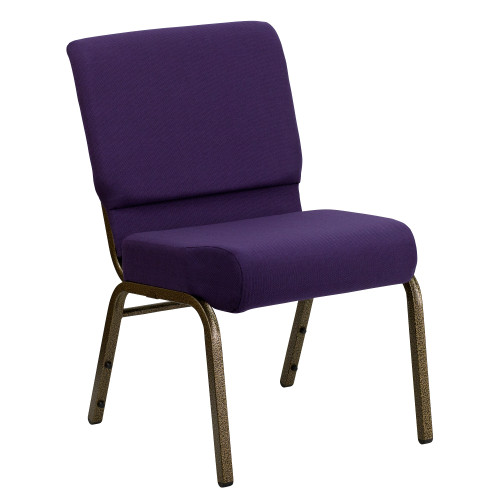 "33"" Royal Purple and Gold Contemporary Stacking Church Chair with Book Rack - IMAGE 1"