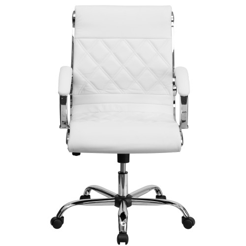 """42"""" White and Silver Mid Back Swivel Office Chair with Padded Arms - IMAGE 1"""