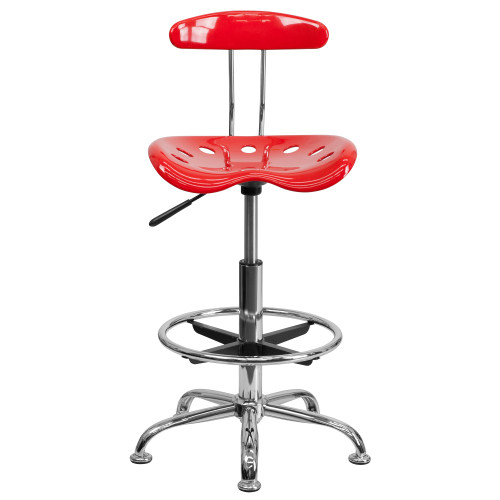 """41"""" Red Tractor Swivel Seat Drafting Stool with Chrome Foot Ring - IMAGE 1"""