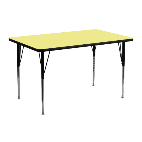 "48"" Yellow and Black Contemporary Thermal Activity Table - IMAGE 1"