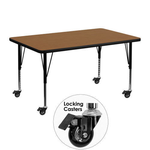 """48"""" Oak Brown and Black Rectangular Table with Height Adjustable Roller Legs - IMAGE 1"""