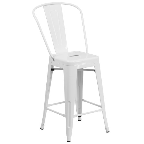 """39.25"""" White Contemporary Outdoor Patio Counter Height Stool with Removable Back - IMAGE 1"""