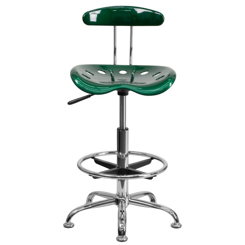 """41"""" Green Tractor Swivel Seat Drafting Stool with Chrome Foot Ring - IMAGE 1"""