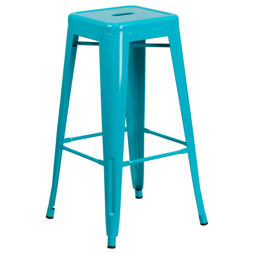 """30"""" Crystal Teal-Blue Contemporary Backless Industrial Outdoor Patio Barstool - IMAGE 1"""