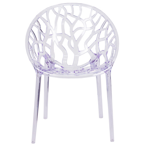 """31"""" Clear Transparent Crystal Outdoor Stackable Side Chair with Round Back - IMAGE 1"""