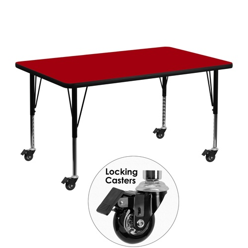 """48"""" Scarlet Red and Black Rectangular Table with Height Adjustable Roller Legs - IMAGE 1"""
