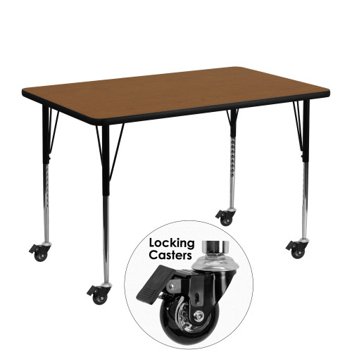 "48"" Brown and Black Rectangular Activity Table with Standard Height Adjustable Roller Legs - IMAGE 1"