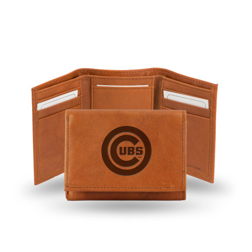 """4"""" Brown MLB Chicago Cubs Embossed Trifold Wallet - IMAGE 1"""