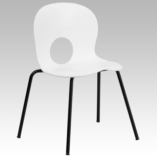 """30"""" White Plastic Cafe – Style Stackable Chair - IMAGE 1"""