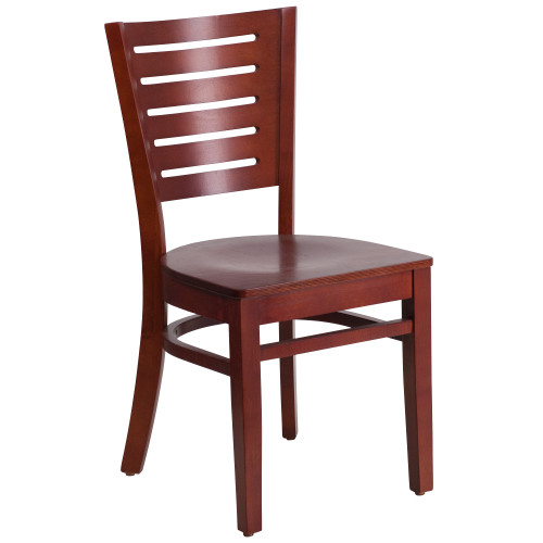 "33.5"" Red Solid Slat Back Restaurant Dining Chair - IMAGE 1"