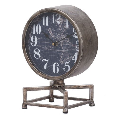 "11"" Blue and Gray Classic Vintage Table Clock - IMAGE 1"