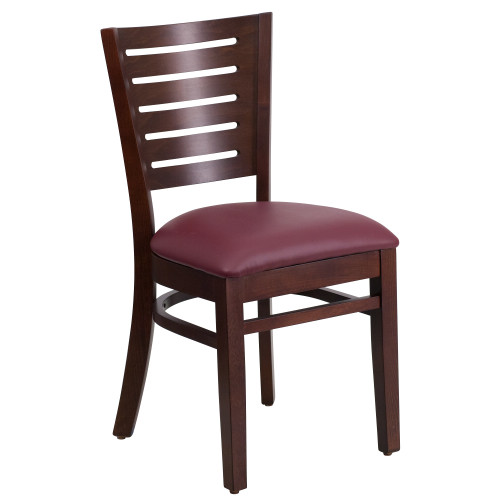 """33.5"""" Brown and Red Solid Slat Back Restaurant Dining Chair - IMAGE 1"""