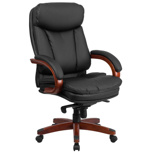 """48"""" Brown and Black High-Back Executive Office Chair with Arms - IMAGE 1"""