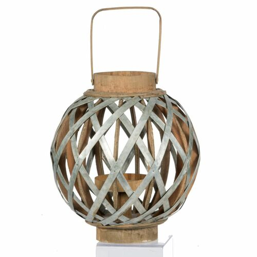 "12.75"" Silver and Natural Brown Classic Small Shanghai Round Lantern - IMAGE 1"