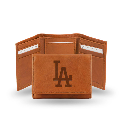 """4"""" Brown MLB Los Angeles Dodgers Embossed Trifold Wallet - IMAGE 1"""