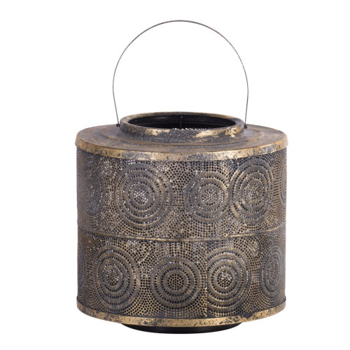 """13"""" Gold and Brown Vintage Distressed Weathered Style Lantern - IMAGE 1"""