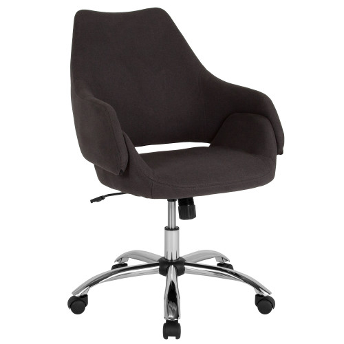 3.25' Black and Metallic Silver Contemporary Upholstered Mid-Back Chair - IMAGE 1