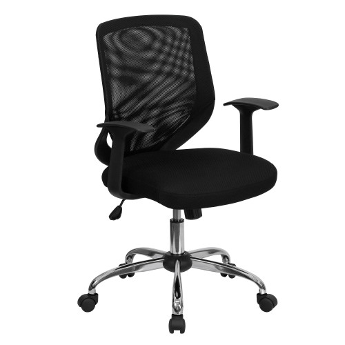 3.25' Black and Metallic Gray Contemporary Mid and Tapered Back Swivel Task Office Chair - IMAGE 1