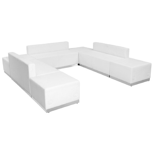 "Set of 7 White Leather Reception Configuration Chair 102.5"" - IMAGE 1"