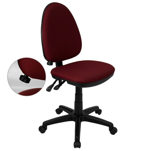 """39.5"""" Mid-Back Burgundy Fabric Multifunction Swivel Task Office Chair with Adjustable Lumbar Support - IMAGE 1"""
