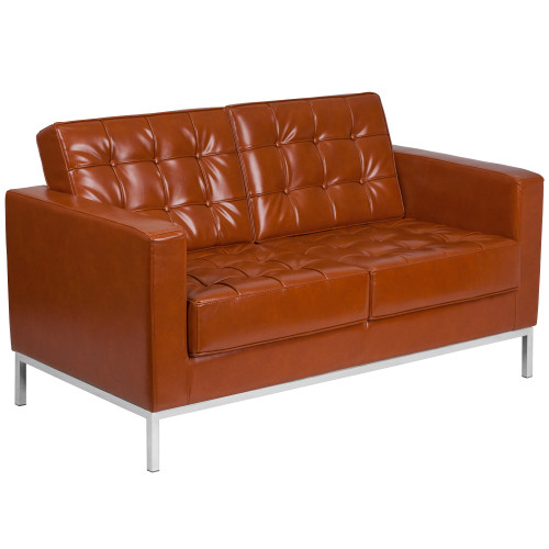 """57"""" Cognac Brown Leather Button - Tufted Loveseat with Stainless Steel Frame - IMAGE 1"""